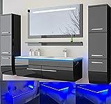 HOMELINE Badmbel Set Doppelwaschbecken Waschbecken Spiegel und Ablage Vormontiert Badezimmermbel LED Hochglanz lackiert Homeline1 Schwarz 120 cm 2 Hngeschrnke
