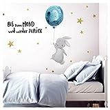 Little Deco Wandtattoo Bis zum Mond & Hase mit Luftballon I Wandbild 174 x 102 cm (BxH) I Kinderzimmer Babyzimmer Aufkleber Sticker Wandaufkleber Wandsticker Kinder DL133