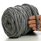 MeriWoolArt Makramee Kordel 10 mm x 60 m auf Spule, Recyceltes weiches Baumwollgarn für das Stricken von Pflanzenhängern, Schmuckherstellung, Häkeltaschen und Wohnungsdekoration (Dunkelgrau)