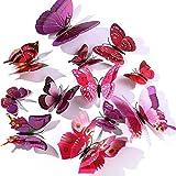 WandSticker4U®- 24er hochwertige 3D SCHMETTERLINGE LILA UND ROSA mit Doppelflügel & Magnet I Schmetterlinge Deko für die Wand Kühlschrank Fenster Möbel Wohnzimmer Kinderzimmer Küche Butterfly