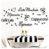 Grandora Wandtattoo Kaffeesorten I braun Kreativset I Kaffee Kaffeebohnen Kaffeetasse Küche Esszimmer Aufkleber Wandaufkleber Wandsticker Sticker W3047