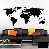 Grandora Wandtattoo Weltkarte Erde Globus Karte I schwarz 170 x 75 cm I Welt Atlas Schlafzimmer Wohnzimmer Wandsticker Wandaufkleber W698
