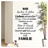 Wandaro Wandtattoo Spruch Wir sind eine tolle Familie I Schwarz 58 x 90cm I Flur Wohnzimmer Aufkleber Selbstklebend Wandaufkleber Wandsticker Wandtatoos W3301