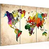 Bilder Weltkarte World map Wandbild 120 x 80 cm Vlies - Leinwand Bild XXL Format Wandbilder Wohnzimmer Wohnung Deko Kunstdrucke Bunt 3 Teilig - Made IN Germany - Fertig zum Aufhängen 105131a