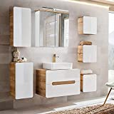 Lomadox Komplett Badezimmermöbel Set Hochglanz weiß mit Wotaneiche, 80cm Waschtischunterschrank mit 50cm Keramik-Waschtisch, LED-Spiegelschrank