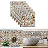 Fliesenaufkleber,Yueser 24 Stück Selbstklebende 3D Klebefliesen Aufkleber Wandfliesenaufkleber Wasserdicht Fliesensticker für Küche Badezimmer Dekorative Stickerfliesen,20 x 20cm (gray)