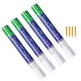 Fugenstift Weiß, 4 Stück Fugenweiß Stift Wasserfest, Reparaturstift/Fugen Reparatur Stift mit Ersatzspitze für Fliesen im Küchen und Badezimmer