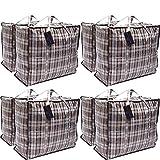 8er-Pack XX-Large STARKE Aufbewahrung Wäscherei Einkaufstaschen - XXL-Umhängetaschen mit Reißverschluss und Griffen kariert - wiederverwendbare Store-Reißverschlusstasche (sortiert)
